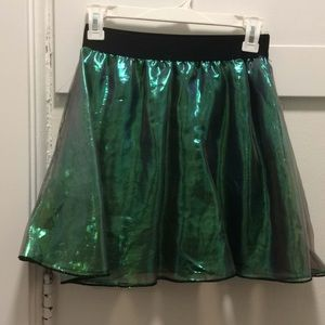 Iridescent black and green skirt
